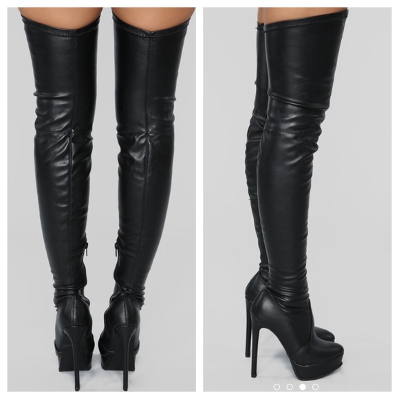 f02545593d8 Fashion Nova Thigh High Boots Faux Leather